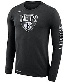 Nike Men's Brooklyn Nets Dri-FIT Cotton Logo Long Sleeve T-Shirt