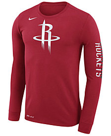 Nike Men's Houston Rockets Dri-FIT Cotton Logo Long Sleeve T-Shirt