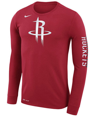 Nike men 39 s houston rockets dri fit cotton logo long sleeve for Under armour dri fit long sleeve shirts