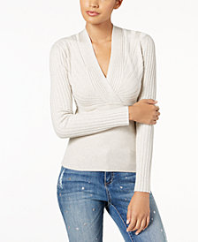 I.N.C. Ribbed Surplice Sweater, Created for Macy's