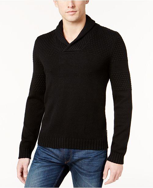 A|X Armani Exchange Armani Exchange Men's Textured Shawl-Collar Stretch Sweater