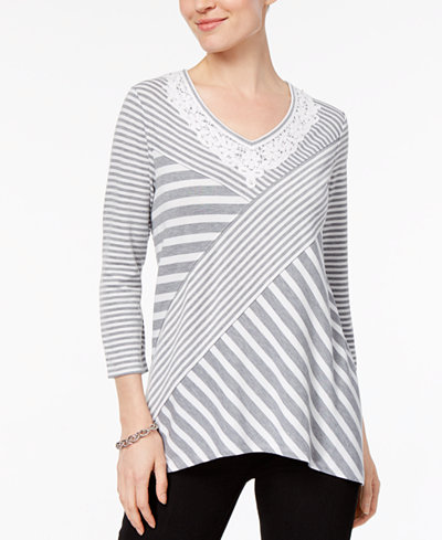 Alfred Dunner Lakeshore Drive Petite Mitered-Striped Crochet-Trim Top