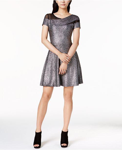 Bar III Metallic Fit & Flare Dress, Created for Macy's