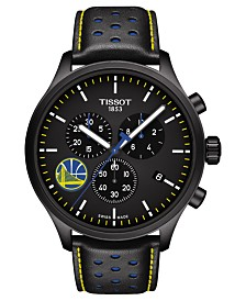 Tissot Men's Swiss Chronograph Chrono XL NBA Golden State Warriors Black Leather Strap Watch 45mm