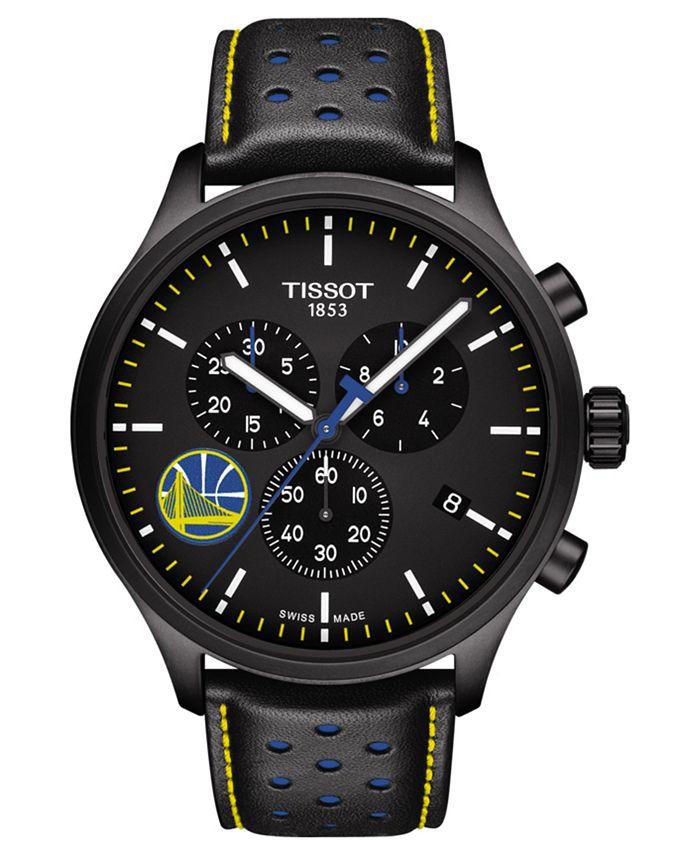 Tissot - Men's Swiss Chronograph Chrono XL NBA Golden State Warriors Black Leather Strap Watch 45mm