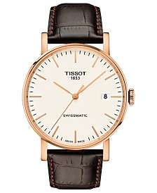 Tissot Men's Swiss Automatic Everytime Swissmatic Dark Brown Leather Strap Watch 40mm