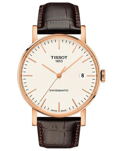 Tissot Men's Swiss Automatic Everytime Swissmatic Dark Brown Leather Strap Watch 40mm