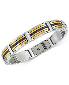 Men's Diamond Two-Tone Link Bracelet (1 ct. t.w.) in Stainless Steel and Gold Ion-Plated Stainless Steel