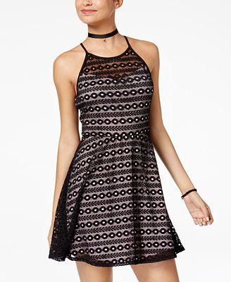 As U Wish Juniors' Illusion Lace Fit & Flare Dress