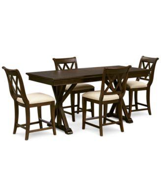 Baker Street Pub Expandable Dining Furniture, 5-Pc. Set (Trestle Table & 4 Pub Chairs)