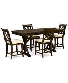Baker Street Pub Expandable Dining Furniture, 5-Pc. Set (Trestle Table & 4 Pub Chairs)