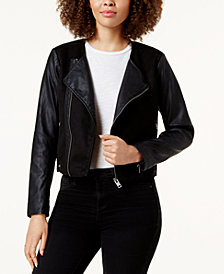 Lucky Brand Faux-Leather-Contrast Moto Jacket