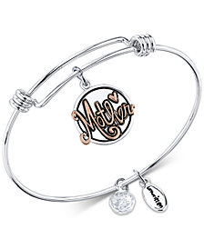 "Unwritten Two-Tone ""Thank you for all you do"" Mother Adjustable Bangle Bracelet in Stainless Steel & Gold-Tone Stainless Steel"