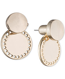 DKNY Gold-Tone Perforated Circle Jacket Earrings, Created for Macy's