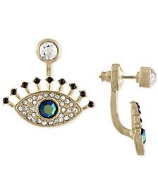 Gold-Tone Multi-Stone Eye Jacket Earrings