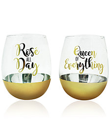 CLOSEOUT TMD Holdings 2-Pc. Queen of Everything Gold Oversized Stemless Glasses Set