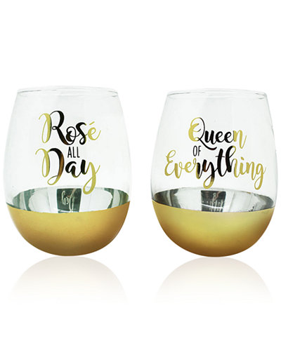 TMD Holdings 2-Pc. Queen of Everything Gold Oversized Stemless Glasses Set