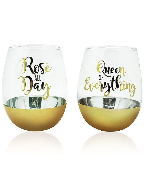 CLOSEOUT 2-Pc. Queen of Everything Gold Oversized Stemless Glasses Set