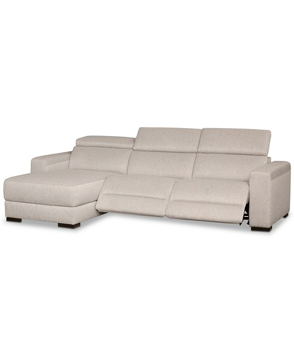 Furniture Nevio 3-Pc. Fabric Sectional Sofa with Chaise, 2 Power Recliners and Articulating Headrests, Created for Macy's