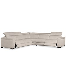 "Nevio 124"" 5-Pc. Fabric ""L"" Shaped Sectional Sofa with 3 Power Recliners and Articulating Headrests, Created for Macy's"