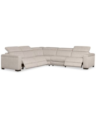 Nevio 5-Pc. Fabric  L  Shaped Sectional Sofa with 3 Power Recliners and Articulating Headrests Created for Macyu0027s  sc 1 st  Macyu0027s : l shaped sectional couches - Sectionals, Sofas & Couches