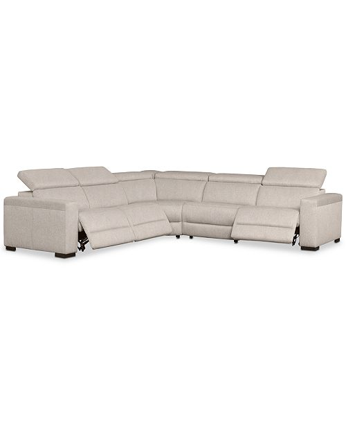 Nevio 124 5 Pc Fabric L Shaped Sectional Sofa With 3 Recliners And Articulating Headrests Created For Macy S