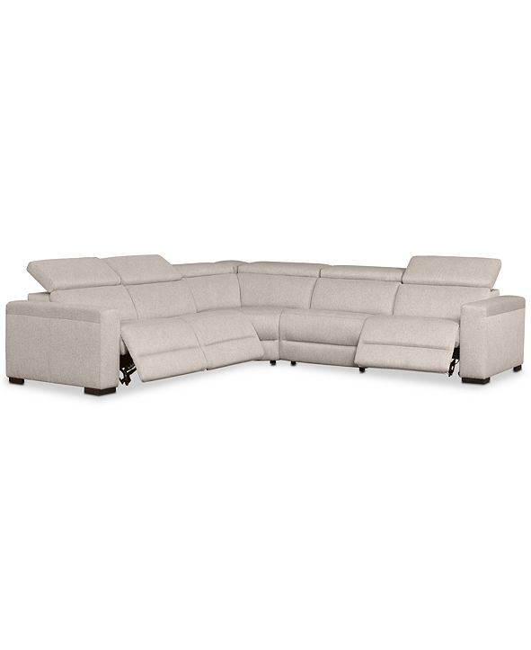 "Furniture Nevio 124"" 5-Pc. Fabric ""L"" Shaped Sectional Sofa with 3 Power Recliners and Articulating Headrests, Created for Macy's"