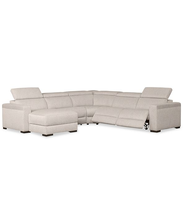 Furniture Nevio 5-Pc. Fabric Sectional Sofa with Chaise, 2 Power Recliners and Articulating Headrests, Created for Macy's