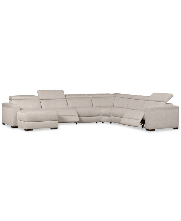 Furniture Nevio 6-Pc. Fabric Sectional Sofa with Chaise, 2 Power Recliners and Articulating Headrests, Created for Macy's