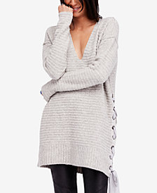 Free People Heart It Lace-Up Sweater