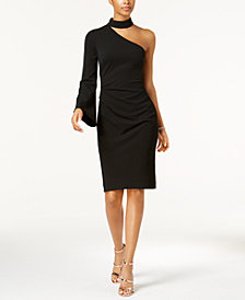 Vince Camuto Mock-Neck One-Shoulder Dress