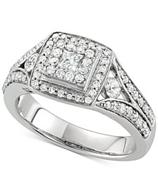 Diamond Square Cluster Halo Engagement Ring (1 ct. t.w.) in 14k White Gold