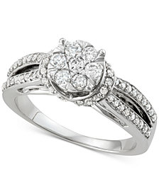 Diamond Cluster Split Shank Engagement Ring (3/4 ct. t.w.) in 14k White Gold