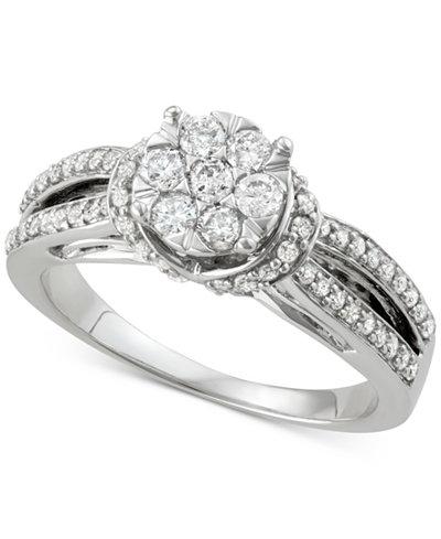 Diamond Cluster Split Shank Engagement Ring (3/4 ct. t.w.) in 14k White Gold