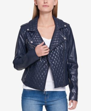 QUILTED FAUX-LEATHER MOTO JACKET, CREATED FOR MACY'S