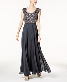 J Kara Embellished Scoop-Neck Gown