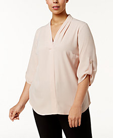 Calvin Klein Plus Size Pleated-Neck Blouse