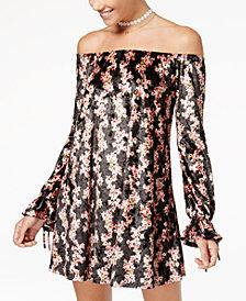 American Rag Juniors' Printed Velvet Off-The-Shoulder Shift Dress, Created for Macy's