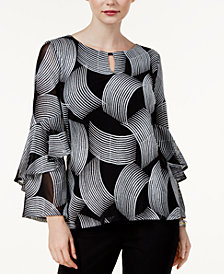 Alfani Petite Mesh Embroidered Ruffle-Sleeve Top, Created for Macy's