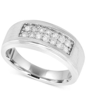 Mens Diamond Ring 12 ct tw in 10k White Gold Rings