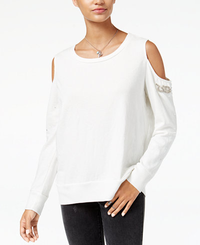 American Rag Juniors' Embellished Cold-Shoulder Sweatshirt, Created for Macy's