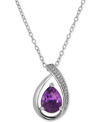 Amethyst (1-3/8 ct. t.w.) & Diamond Accent Teardrop Pendant Necklace in Sterling Silver