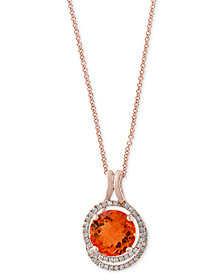 Final Call by EFFY® Citrine (4-1/4 ct. t.w.) & Diamond (1/4 ct. t.w.) Pendant Necklace in 14k Rose Gold