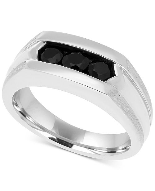 Macy's Men's Black Sapphire Ring (1 ct. t.w.) in Sterling Silver and Black Rhodium Plate
