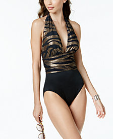 Magicsuit Metallic Allover Slimming Plunge One-Piece Swimsuit