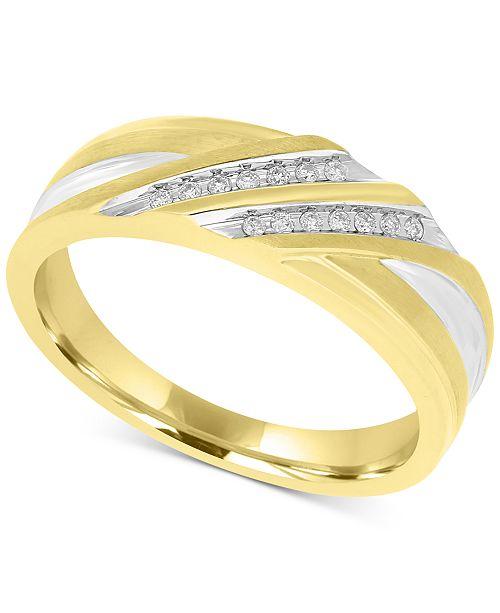 Macy's Men's Two-Tone Diamond Band (1/10 ct. t.w.) in 10k Gold and White Rhodium Plate