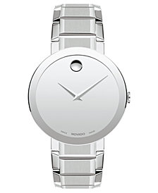 Movado Men's Swiss Sapphire Stainless Steel Bracelet Watch 39mm