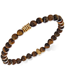 DEGS & SAL Tiger's Eye Stretch Bracelet in 14k Gold-Plated Sterling Silver