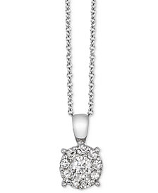 EFFY® Diamond Cluster Pendant Necklace (1/2 ct. t.w.) in 18k White Gold