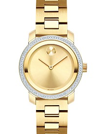 Movado Women's Swiss BOLD Diamond (1/3 ct. t.w.) Gold-Tone Stainless Steel Bracelet Watch 30mm